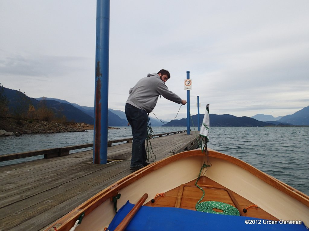 Taking Gwragedd Annwn down the dock, off of the trailer. Thanks to my dock help, Paul.
