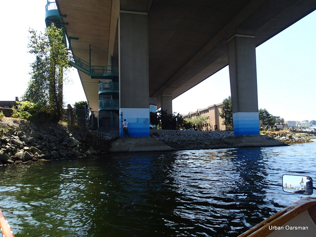 Painting out Graffiti, Cambie Street Bridge