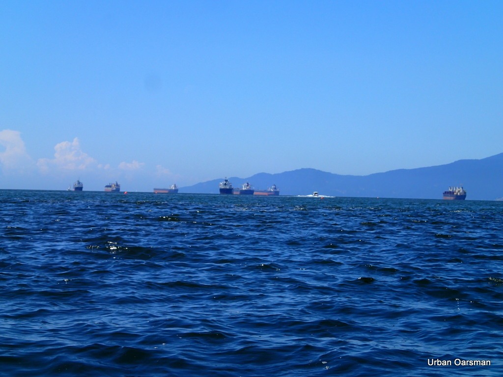 Freighters in English Bay, choppy water