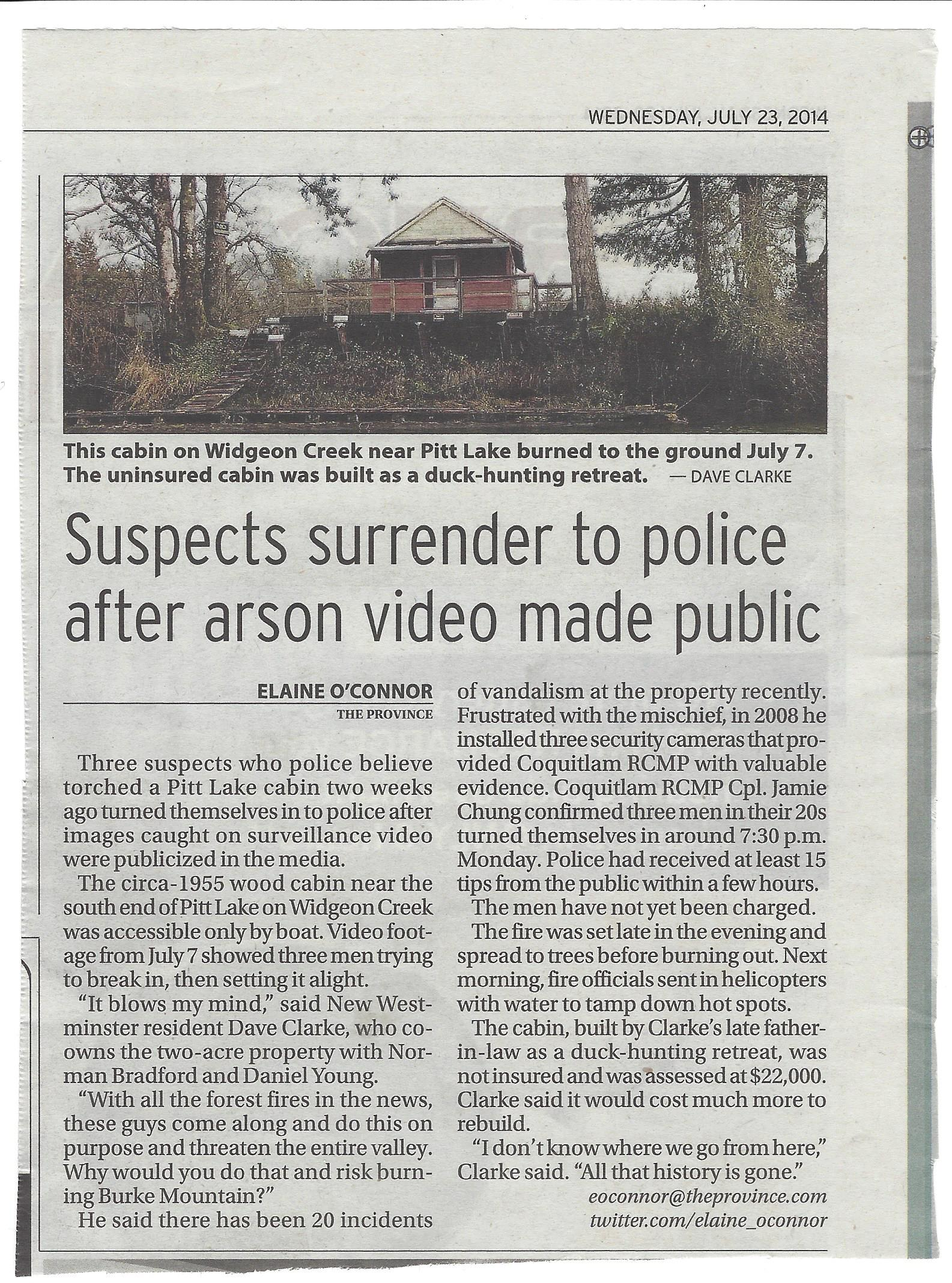 Widgeon Creek Cabin Arson article