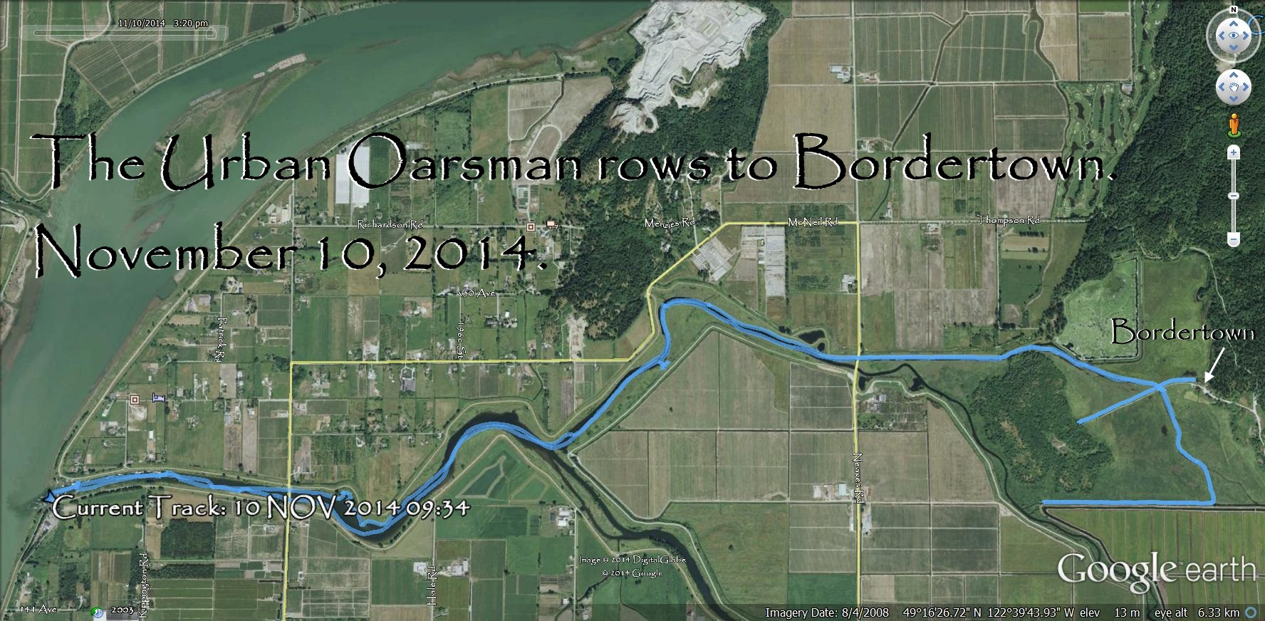 The Urban Oarsman Rows up the Alouette River to Bordertown